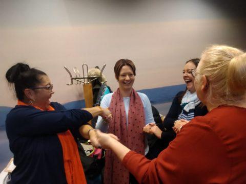 Happy teachers collaborating